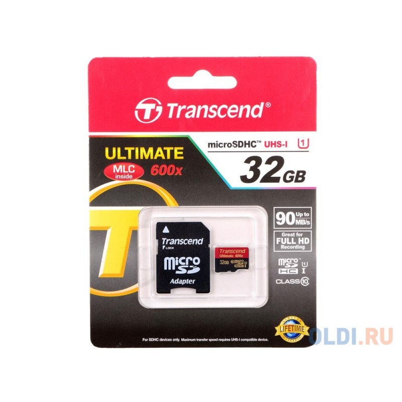 Карта памяти MicroSDHC 32GB Transcend Class10 U1 UHS-I Ultimate (TS32GUSDHC10U1)