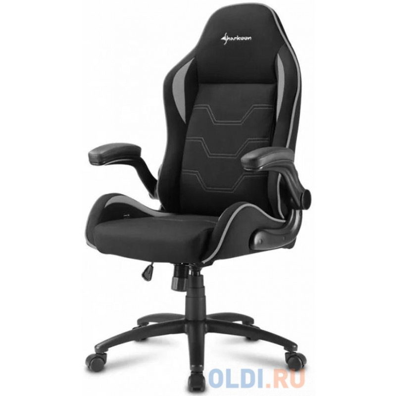 Игровое кресло Sharkoon Elbrus 1 чёрно-серое (ткань, регулируемый угол наклона, механизм качания)