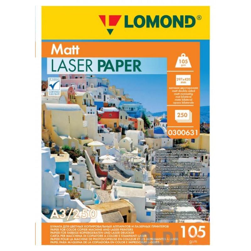 Фотобумага LOMOND Двухсторонняя Матовая, для лазерной печати, 105 г/м2, А3/250л.