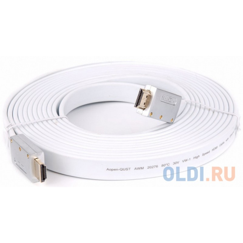 Кабель HDMI 19M/M ver 2.0, 5M, AOpen  ACG568F-S-5M  серебряно-белый Flat