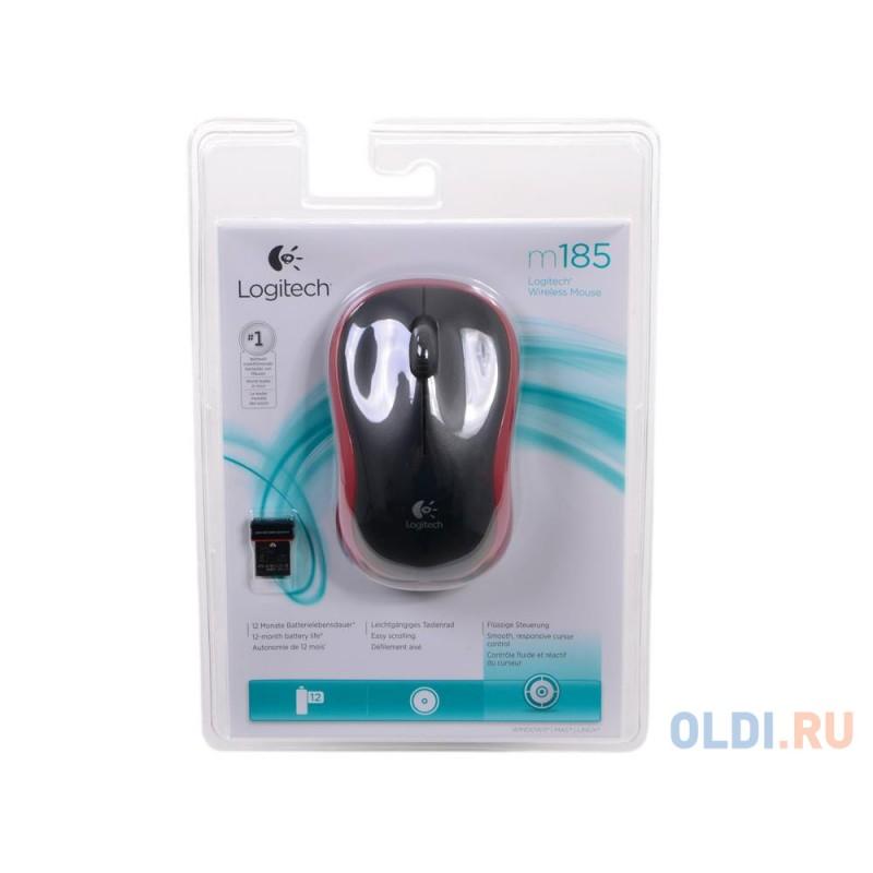 Мышь (910-002240) Logitech Wireless Mouse M185, Red