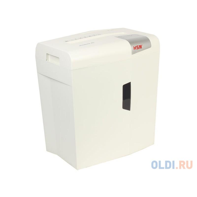 Шредер HSM Shredstar X5-4.5x30 WHITE (DIN P-4 O-1 T-2 E-2 F-1) фрагм.4,5х30мм,6 листов,18 литров,Уничт.скобы,скрепки,пл.карты,CD