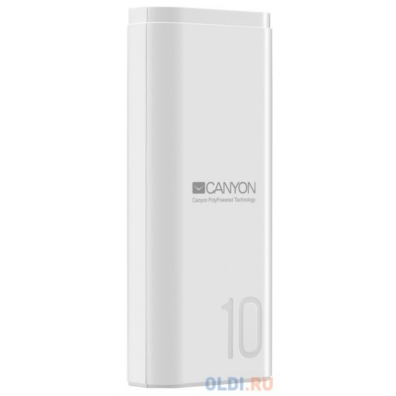 Зарядное устройство CANYON CNE-CPB010W 10000mAh Li-pol, In 5V/2A, Out 5V/2.1A,  Smart IC, Белый, кабель 0.25m,