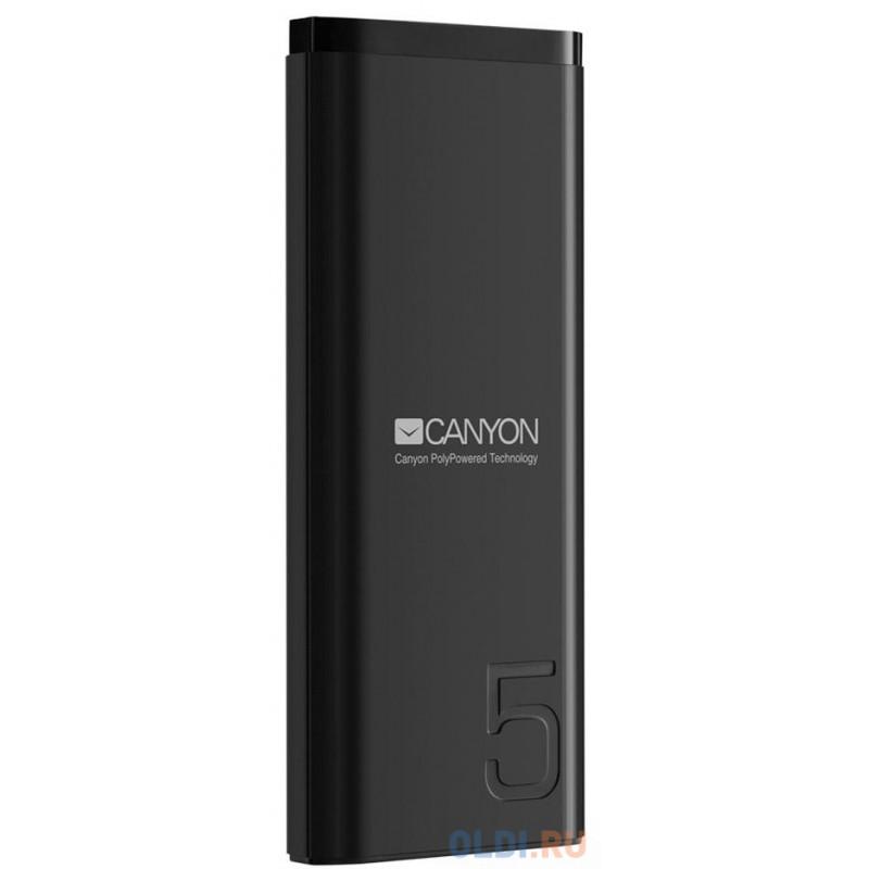 Зарядное устройство CANYON CNE-CPB05B 5000mAh Li-pol, In 5V/2A, Out 5V/2.1A,  Smart IC, Черный, кабель 0.25m,