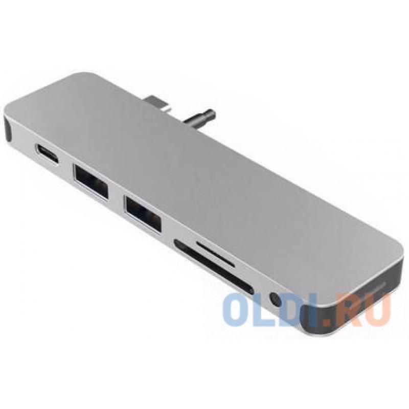 USB-хаб Hyper HyperDrive SOLO 7-in-1 Hub для Macbook и других устройств с портом Type-C. Порты: 4K/30Hz HDMI, USB-C Power Delivery, 2 x USB-A, Micro SD, SD, 3.5mm AUX. Цвет серебряный.