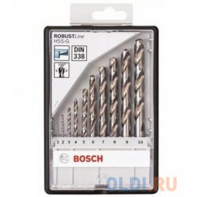 Набор сверл BOSCH Robust Line HSS-G 10 шт. (2.607.010.535)  металл, 1-10мм, 10шт.