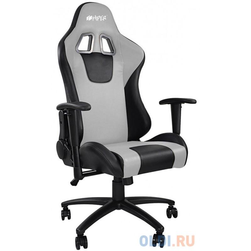 Игровое кресло HIPER HGS-104 чёрно-серое (кожа-PU, 2D подлокотник, газлифт класс 3, регулируемый угол наклона, механизм качания)