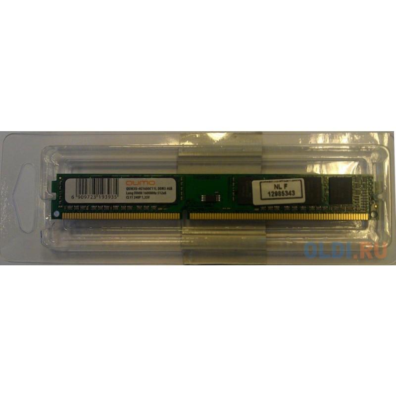 Оперативная память QUMO QUM3U-4G1600C11L DIMM 4Gb DDR3 1600MHz