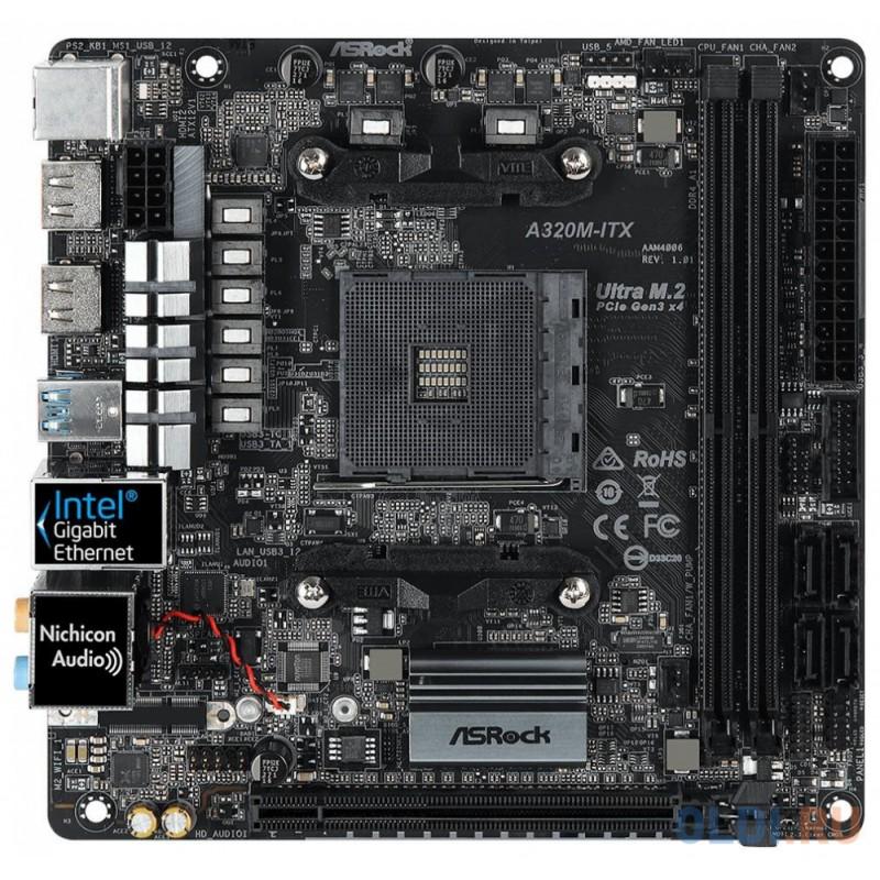 A320M-ITX Socket AM4, AMD A320, 2xDDR4-3200, HDMI+HDMI, 1xPCI-Ex16, 4xSATA3(RAID 0/1/10), 1xM.2, 8 Ch Audio, 1xGLan, WiFi, (2+2)xUSB2.0, (3+2)xUSB3.1, 1xUSB3.1 Type-C™, 1xPS/2, Mini-ITX, RTL, {20}