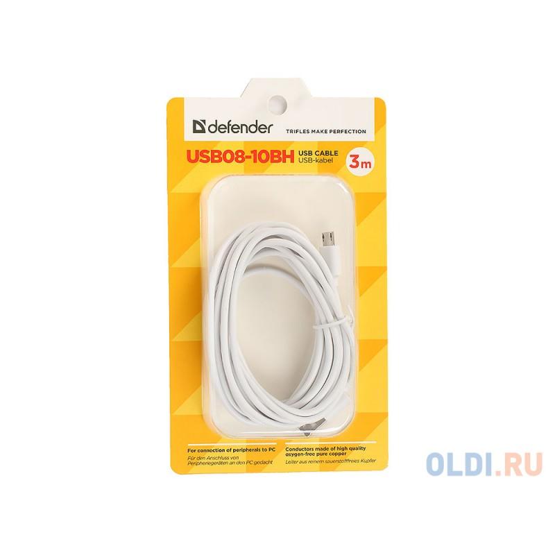 Кабель microUSB 3м Defender USB08-10BH круглый белый
