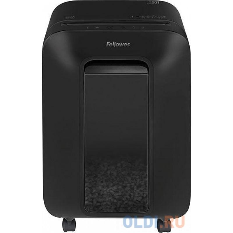Шредер Fellowes Powershred LX201, черный, DIN P-5, 2х12 мм, 12 лст., 22 лтр., Jam Proof™, SafeSense