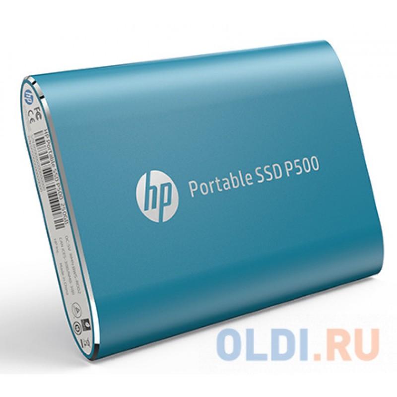 Портативный твердотельный накопитель HP P500, USB 3.1 gen.2 / USB Type-C / USB Type-A, OTG, 500 Гб, R350/W210, Синий