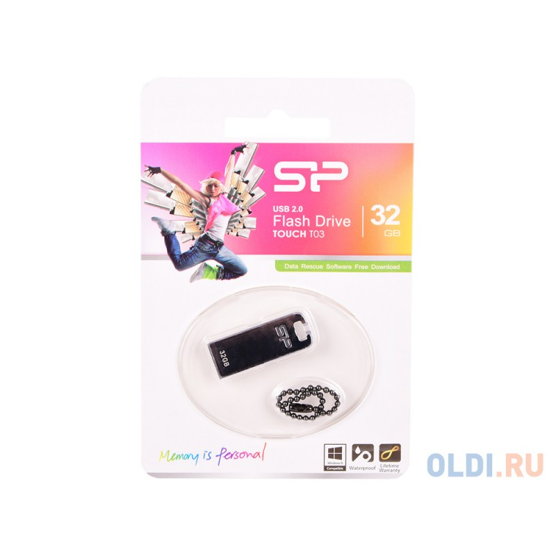 Внешний накопитель 32GB USB Drive <USB 2.0 Silicon Power Touch T03 SP032GBUF2T03V1F серебристый