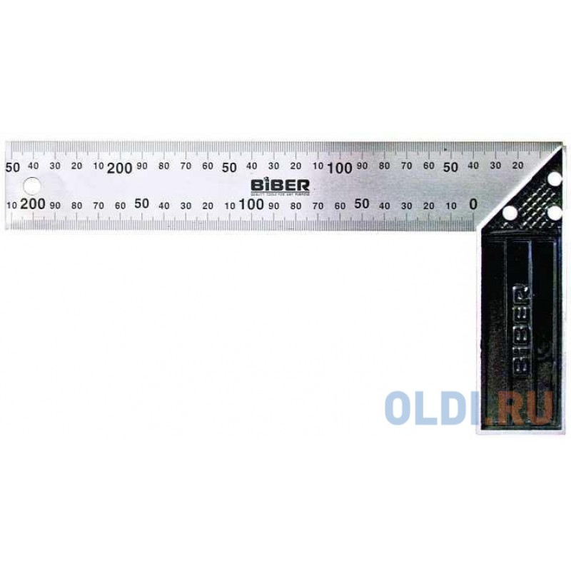 Угольник BIBER 40625  столярный профи 250мм нержавеющая сталь гравировка