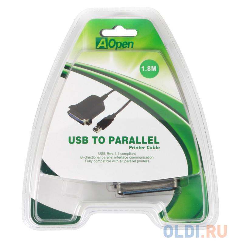 Кабель-адаптер USB 2.0 AM-LPT 1.8м Aopen ACU806 прямое подключение к LPT порту принтера
