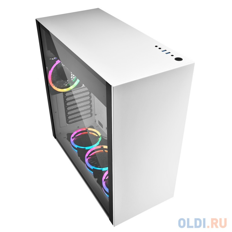 Игровой корпус Sharkoon PURE STEEL RGB led белый (ATX, закаленное стекло, fan 3x120 мм + 1x120 мм, 2xUSB 3.0, audio)