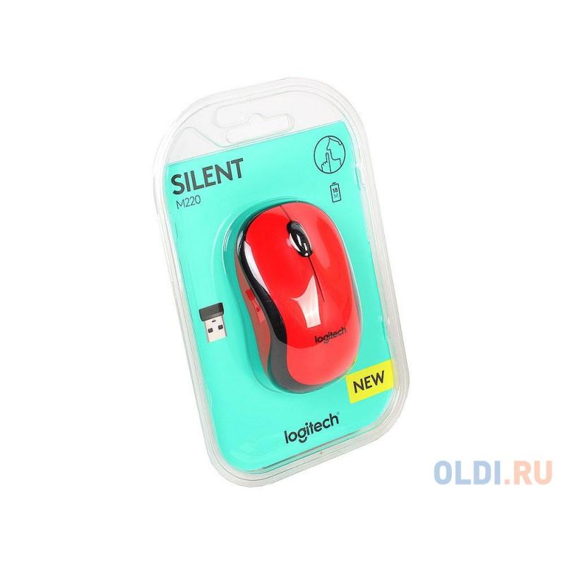 Мышь (910-004880) Logitech Wireless Mouse M220 SILENT Red