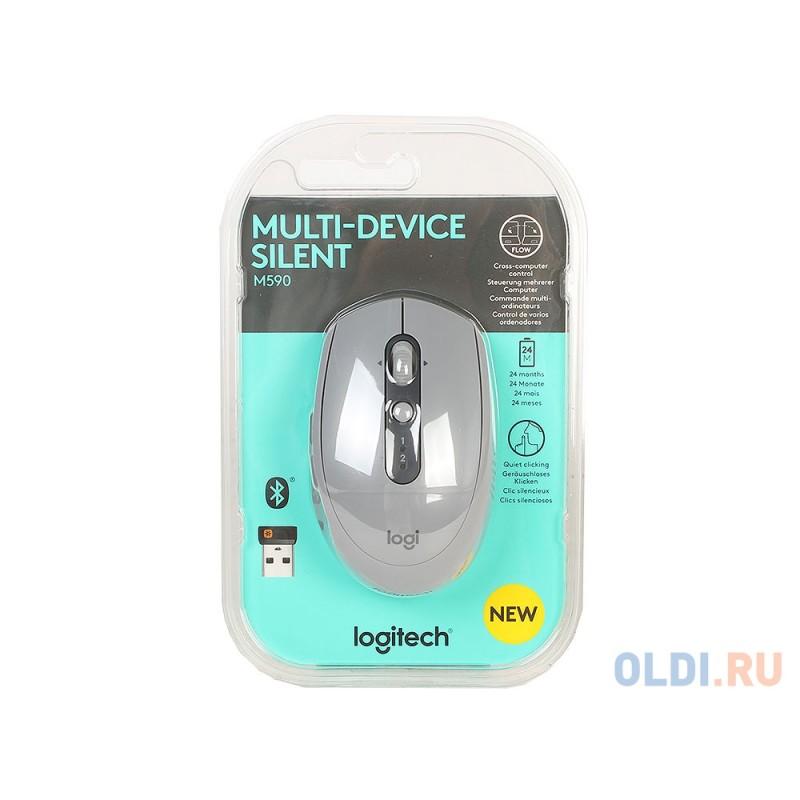 Мышь беспроводная Logitech M590 USB серый 910-005198
