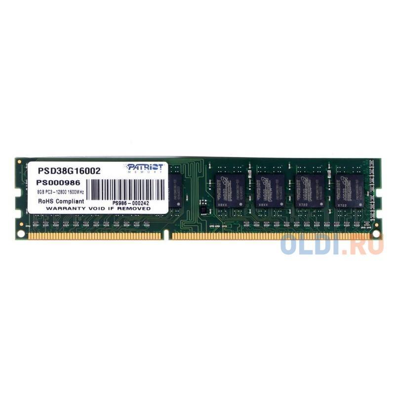 Оперативная память Patriot PSD38G16002 DIMM 8Gb DDR3 1600MHz