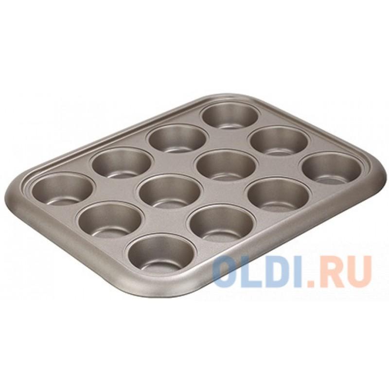 Форма для 12 маффинов, стальная, антипригарная, 38х29,5х3,5 см, NADOBA, серия RADA