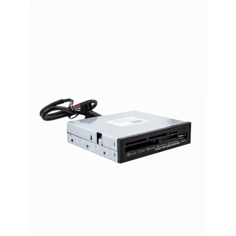 Картридер USB 2.0 Black <AII in 1, + USB port, internal 3.5
