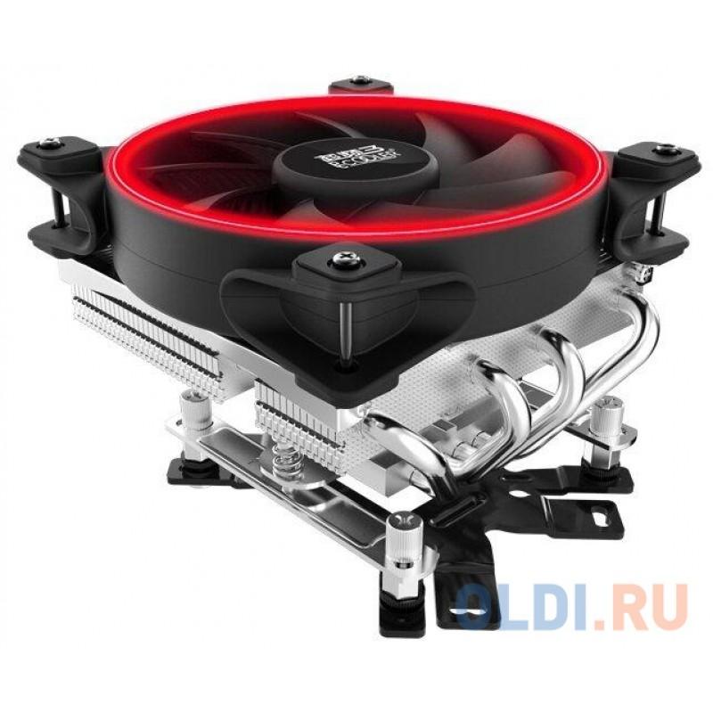 Кулер PCCooler GI-46U CORONA R LGA/115X/775/AM4/3/3+/AM2/2+/FM1/2/2+ (30 шт/кор, TDP 125W, 120mm PWM SilentPro Red LED FAN, 4 тепловые трубки 6мм, 1000-1800RPM, 26,5dBa)