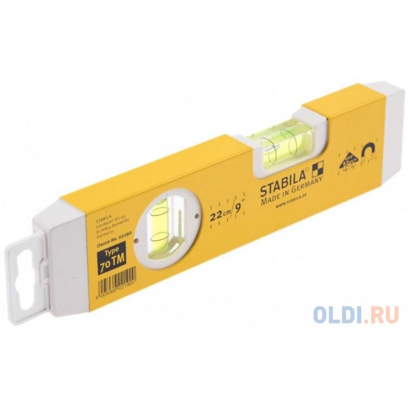 Уровень STABILA 02190 тип 70TM  250мм, 2 глазка, магнитный, точн. 0,5мм/м