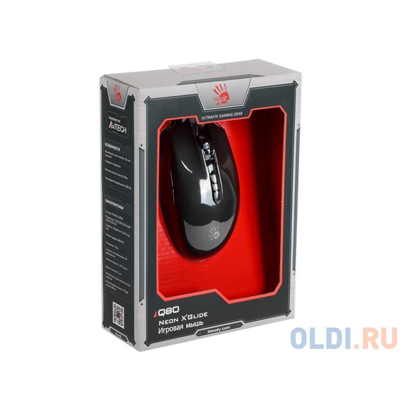 Мышь A4Tech Bloody Q80 черный оптическая (3200dpi) USB игровая (8but)