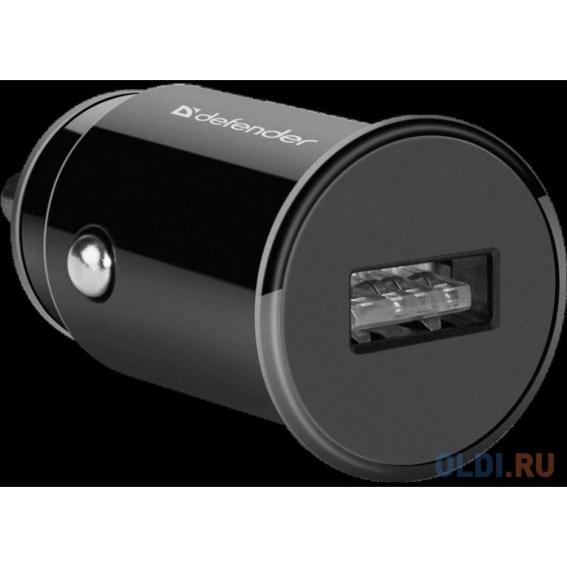 Автомобильный адаптер Defender UCA-12 черный, 1xUSB, 5V/1А