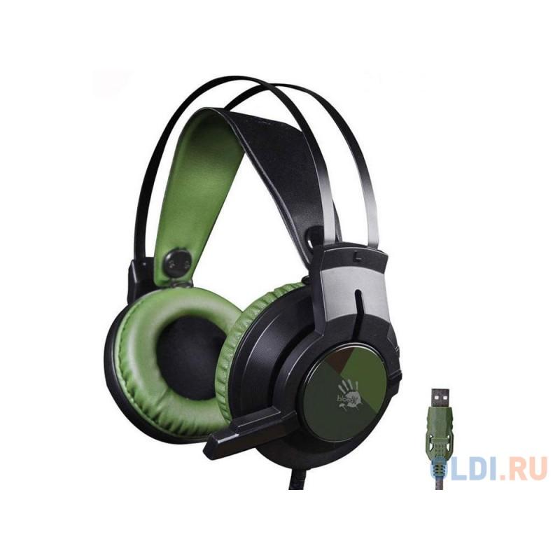 Гарнитура  A4Tech Bloody J450 черный/зеленый (2.2м)