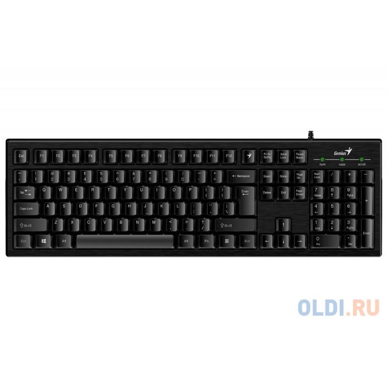 Клавиатура Genius Smart KB-101 Black, классическая расскладная, SmartGenius, влагоустойчивая, клавишь 105, провод 1,5 м, USB