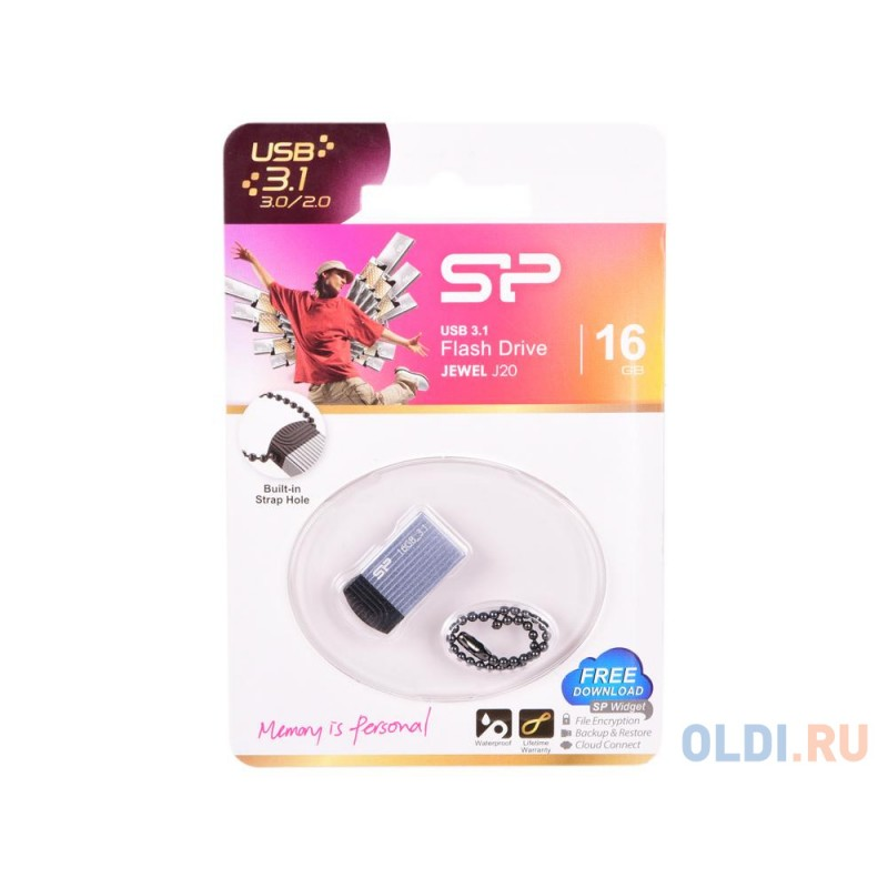 Внешний накопитель 16GB USB Drive <USB 3.0 Silicon Power Jewel J20 Blue (SP016GBUF3J20V1B)