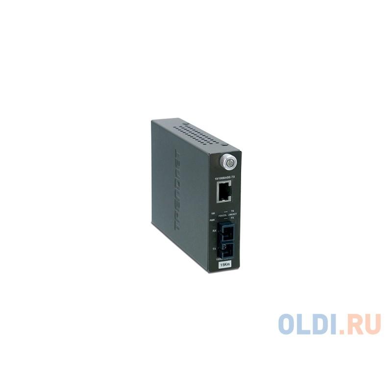 Медиаконвертер TRENDnet TFC-110S15 Одномодовый оптоволоконный медиа-конвертер с оптическим портом 100Base-FX разъём SC, поддерживающим работу на расст
