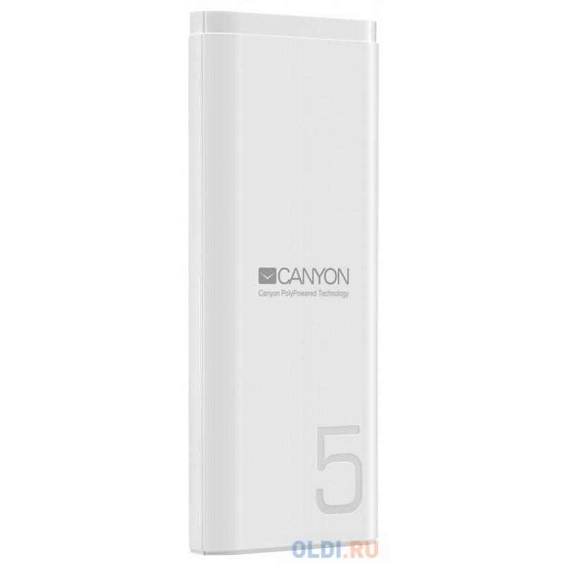 Зарядное устройство CANYON CNE-CPB05W 5000mAh Li-pol, In 5V/2A, Out 5V/2.1A,  Smart IC, Белый, кабель 0.25m,