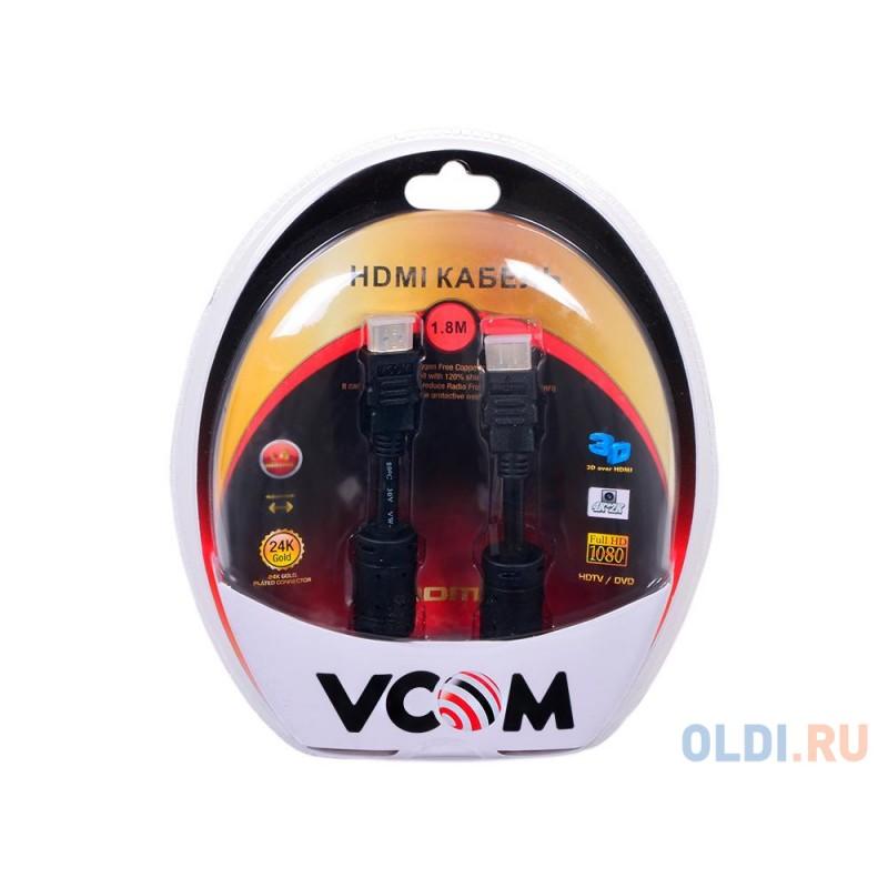 Кабель VCOM HDMI 19M/M ver:1.4-3D, 1,8m, позолоченные контакты, 2 фильтра <VHD6020D-1.8MB Blister