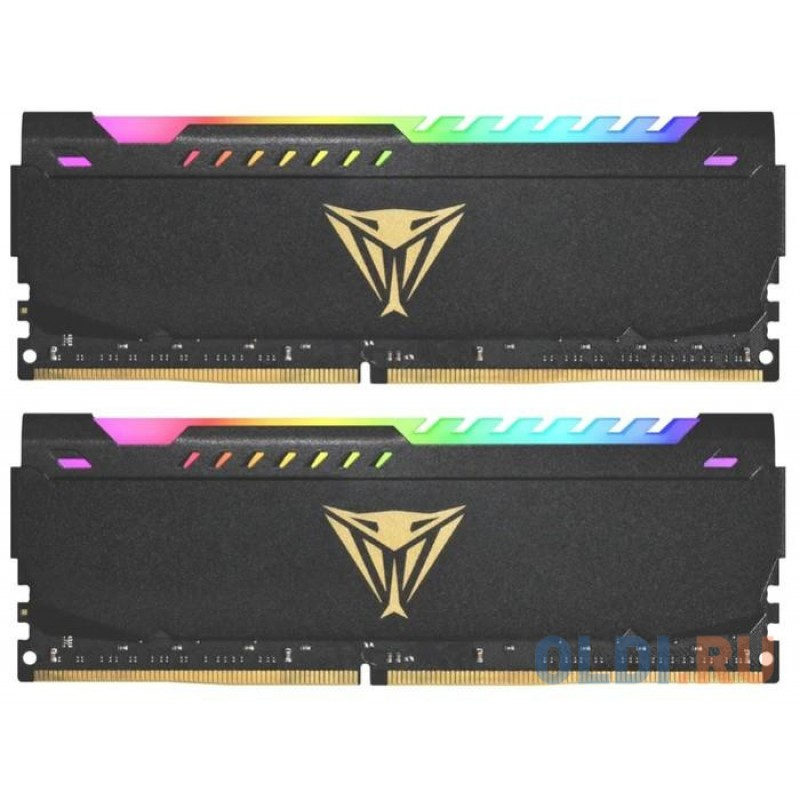 Память DDR 4 DIMM 16Gb (8Gbx2) PC25600, 3200Mhz, CL18, PATRIOT Viper Steel RGB (PVSR416G320C8K) (retail)