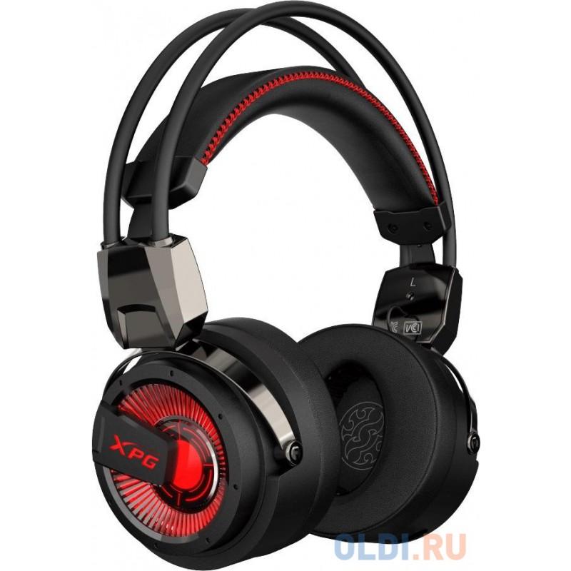 Игровая гарнитура XPG PRECOG ANALOG чёрная (7.1, USB-C, Jack 3.5 мм, микрофон, красная подсветка,электростатические/ динамические двойные динамики)