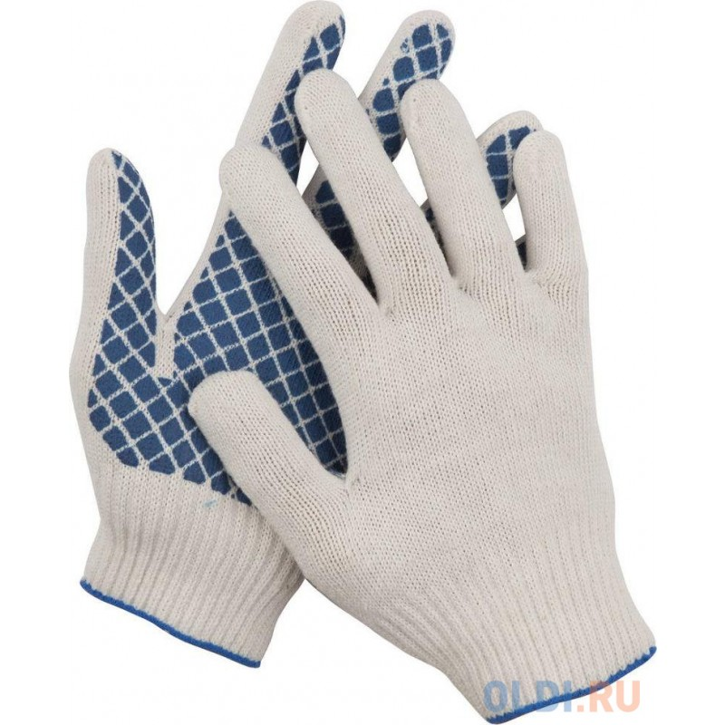 Перчатки трикотажные DEXX, 7 класс, х/б, обливная ладонь [114001]