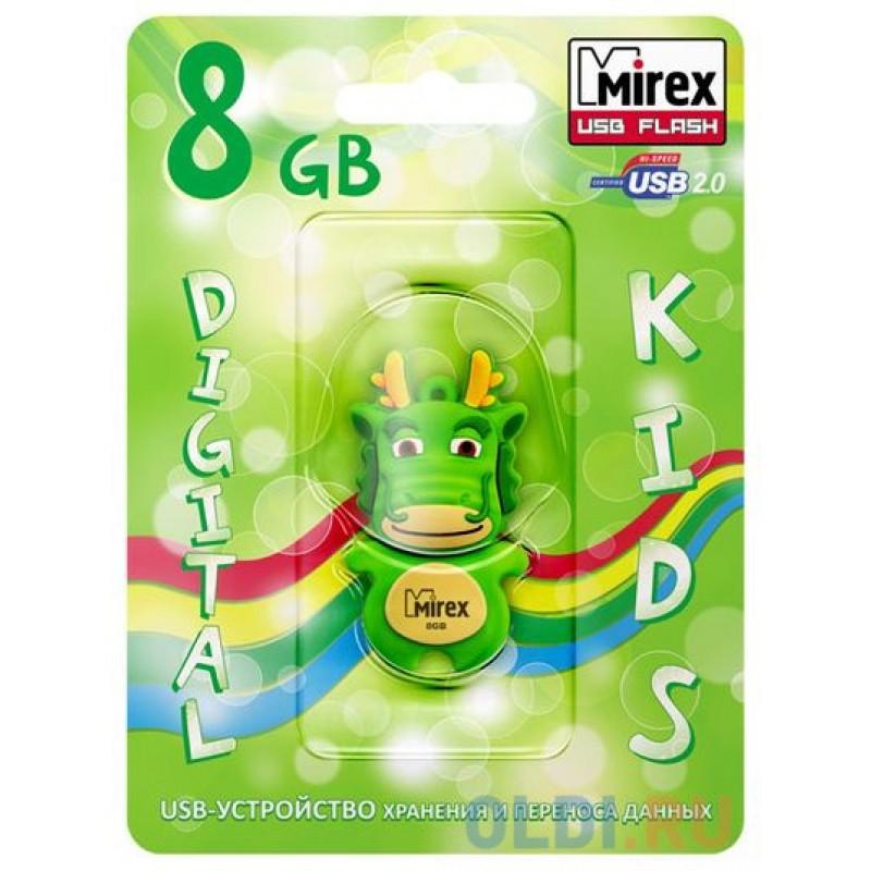 Флеш накопитель 8GB Mirex Dragon, USB 2.0, Зеленый
