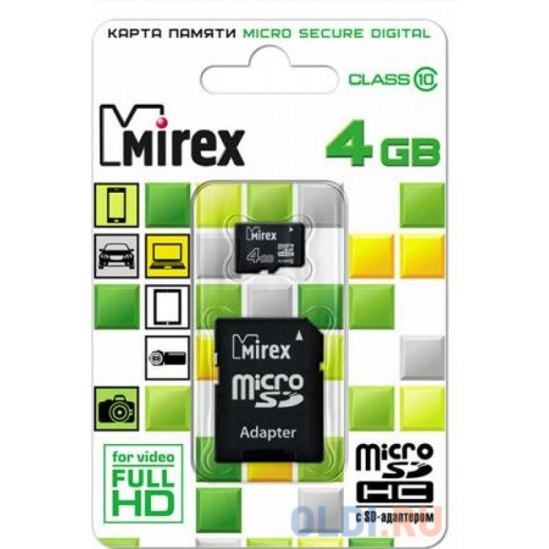 Карта памяти Micro SDHC 4GB Class 10 Mirex 13613-AD10SD04 + адаптер SD
