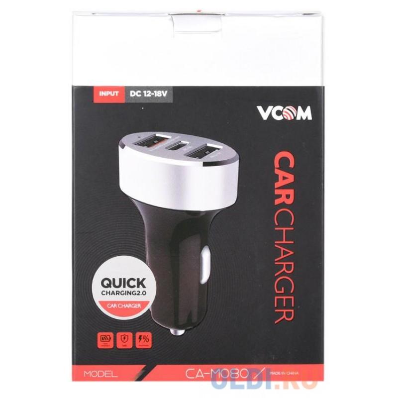 Автомобильное зарядное устройство 2xUSB 2,4A + Type-C 3A, IC, Quick Charge 3.0  VCOM <CA-M080