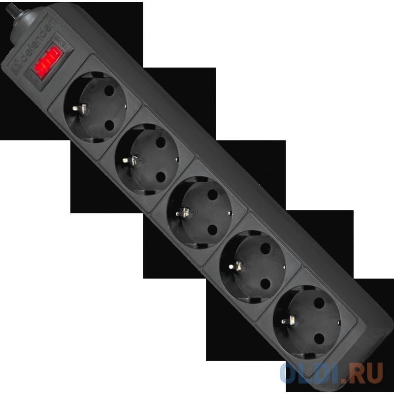 Сетевой фильтр Defender ES черный 5.0 m 5 розеток
