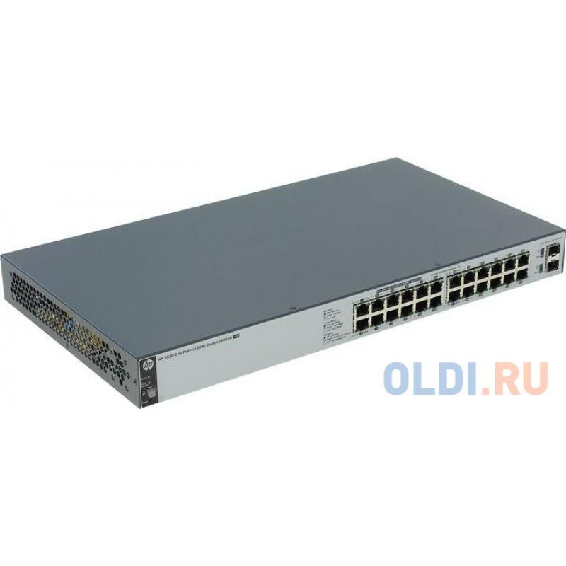 Коммутатор HP 1820-24G-PoE+ (185 Вт) (J9983A) Коммутатор второго уровня 24 порта 10/100/1000 (включая 12 портов PoE/PoE+) и 2 порта SFP 100/1000.