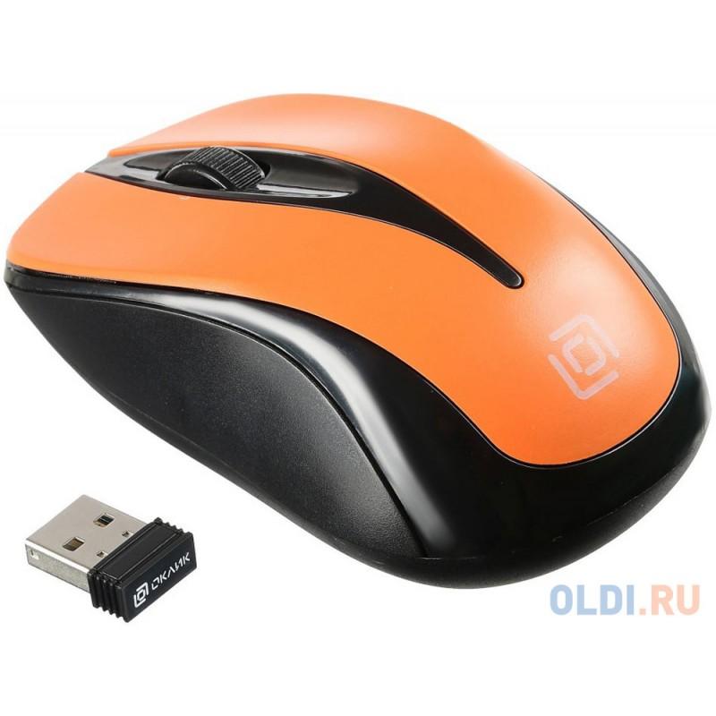 Мышь беспроводная Oklick 675MW чёрный оранжевый USB + радиоканал