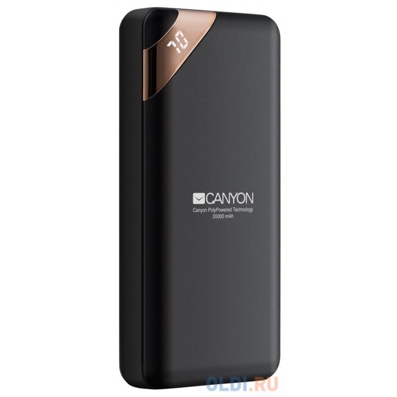 Зарядное устройство CANYON CNE-CPBP20B 20000mAh  Li-pol, In 5V/2A, Out 5V/2.1A(Max), Smart IC and power display, Черный, кабель 0.25m,