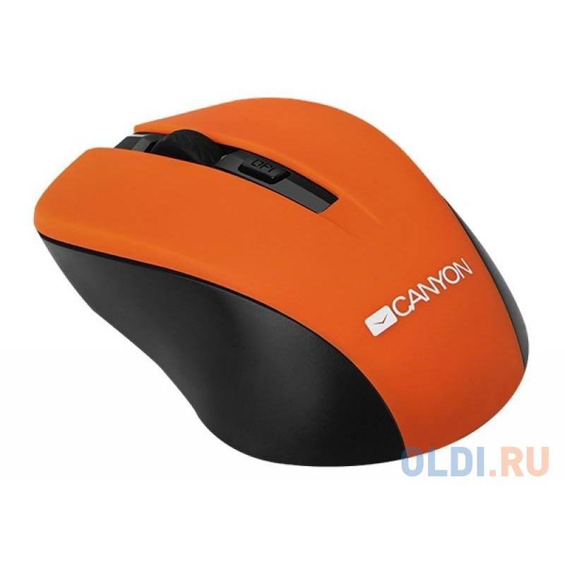 Мышь беспроводная CANYON CNE-CMSW1O (Wireless, Optical 800/1000/1200 dpi, 4 btn, USB, power saving button), оранжевый USB