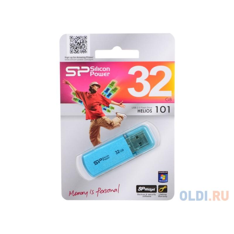 Внешний накопитель 32GB USB Drive <USB 2.0 Silicon Power Helios 101 Blue (SP032GBUF2101V1B)