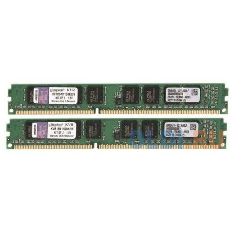 8GB Kingston DDR3 1600 DIMM   KVR16N11S8K2/8WP Non-ECC, Unbuffered, CL11, 1.5V, 1Rx8 Kit (2x4GB) , RTL{25} (31367)