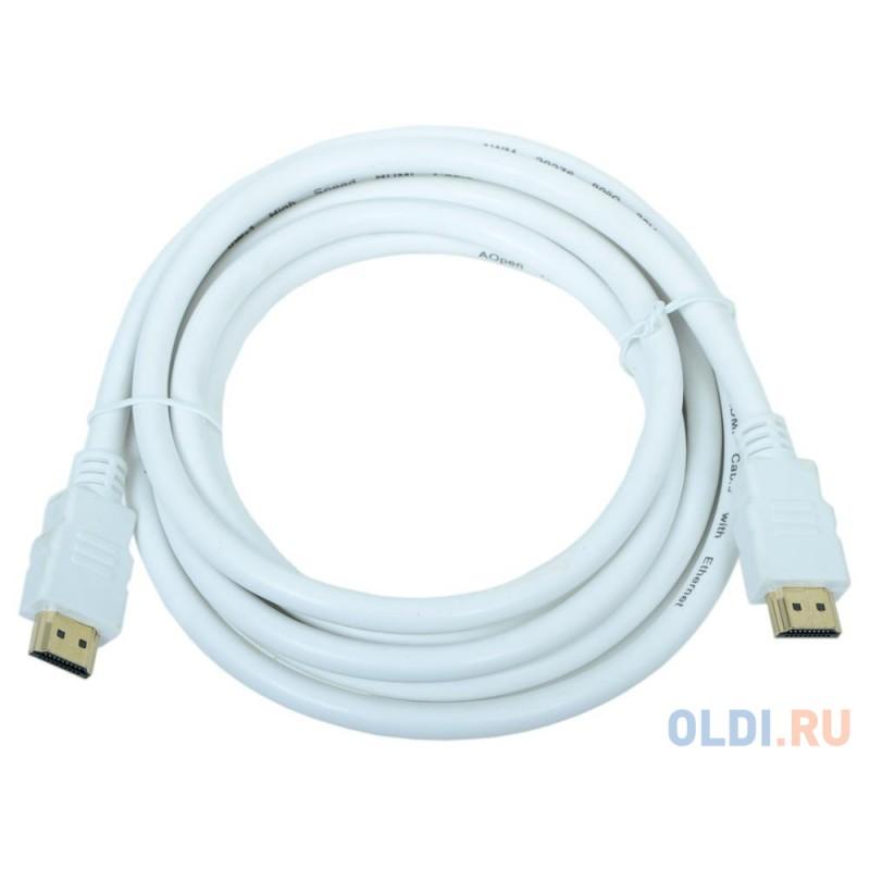 Кабель AOpen  HDMI 19M/M 1.4V+3D/Ethernet   ACG511W-3M 3m, белый, позолоченные контакты
