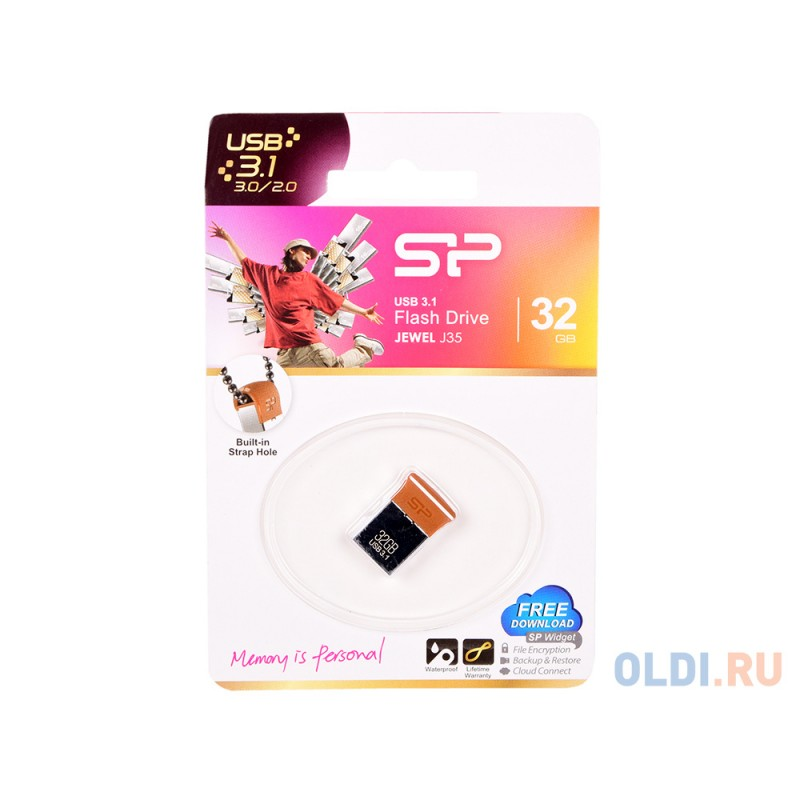 Внешний накопитель 32GB USB Drive <USB3.1 Silicon Power J35 SP032GBUF3J35V1E серебристый/коричневый